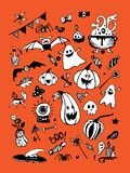 Big vector collection of Halloween elements, including pumpkins, mushrooms, sweets, skulls, bats, poison, ghosts. vector illustration