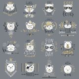Big Vector Collection With Cute Animals. Set With Teddy Bears, Royalty Free Stock Image
