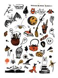 Big vector colorful set with Halloween elements, including pumpkins, mushrooms, sweets, skulls, bats, poison, ghosts. royalty free illustration