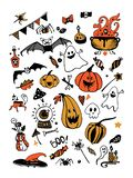 Big vector colorful set with Halloween elements, including pumpkins, mushrooms, sweets, skulls, bats, poison, ghosts. vector illustration