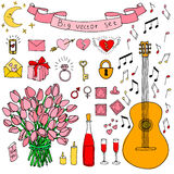 Big vector doodle set. Love and feelings collection Royalty Free Stock Photo