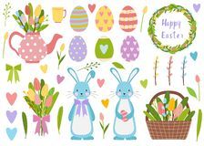 Big elements set. Spring time easter eggs, tulip flowers, bucket with flowers and willow. Cute teapot with bouquet and vector illustration
