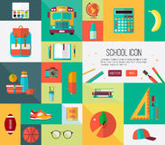 Big vector icons set. Collection of back to school. Vector school icons set. Colorful illustration for web banners or card elements vector illustration