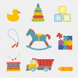 Big Vector illustration set of children toys royalty free stock photos