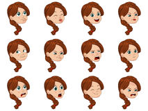 Big Vector Illustration set of cute little girl faces showing different emotions Stock Photo