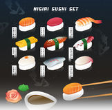 Big vector illustration set of a nigiri sushi. Japanese food. Menu cover with cosmic background. Royalty Free Stock Image