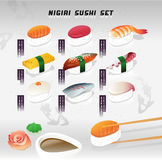 Big vector illustration set of a nigiri sushi. Japanese food. Menu cover with texture. Stock Photography
