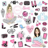 Big Vector kit of fashion patches. Set with glamour elements. Cu. Te stickers for girls. Fashionable accessories. Trendy badges and pins. Stylish prints girls stock illustration