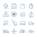 Big vector linear Icons set of logistics and delivery Royalty Free Stock Images