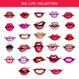 Big Vector lips set comic fashion emotions pop art style different color lipstick cosmetics isolated on white background stock illustration