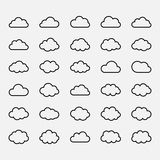 Big vector set black cloud shapes, icons Stock Images