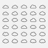 Big vector set black cloud shapes, icons Stock Images