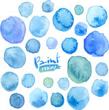 Big vector set of blue watercolor stains Royalty Free Stock Photos