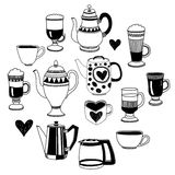 Big vector set with coffee icons Stock Image
