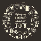Big vector set with coffee icons Royalty Free Stock Photo