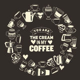 Big vector set with coffee icons Royalty Free Stock Photos