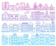 Big vector set of color european detailed buildings. Illustratio. N of different urban structures on white background. Thin gradient line art design for web Stock Photos