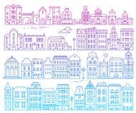Big vector set of color european detailed buildings. Illustratio Stock Photos
