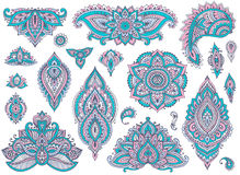 Big vector set of colorful henna floral elements Stock Photos