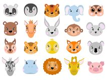 Big vector set of cute animals face icon flat. Big vector set of cute animals face icon flat in white background Stock Photos
