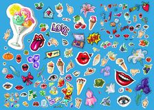 Big vector set of cute funny comic cartoon object, eye, sparrow,pizza, dagger and other for apps, books, cards or stock illustration