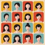 Big vector set of different haircuts women app icons in flat style. Big vector set of different haircuts women app icons in flat style Stock Photo
