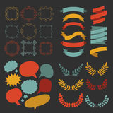 Big vector set of different shapes ribbons, laurels, labels and speech bubbles in flat style. Royalty Free Stock Photography