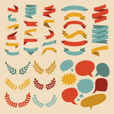 Big vector set of different shapes ribbons, laurels, labels and speech bubbles in flat style. Stock Photography