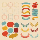 Big vector set of different shapes ribbons, laurels, labels and speech bubbles in flat style. Stock Photo