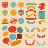 Big vector set of different shapes ribbons, laurels, labels and speech bubbles in flat style. Royalty Free Stock Photo