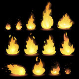 Big Vector set of different stages of fire - a small fire with sparks, blazing bright fire, dying fire, smoke. Video game, mobile Royalty Free Stock Image