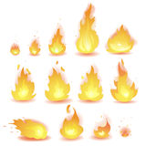 Big Vector set of different stages of fire - a small fire with sparks, blazing bright fire, dying fire, smoke. Video game, mobile Stock Image