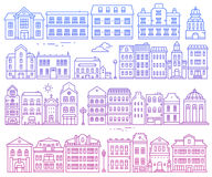Big vector set of different urban structures. Illustration of co. Lor european detailed buildings on white background. Thin gradient line art design for web Royalty Free Stock Photography