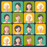 Big vector set of different women app icons in flat style. Big vector set of different women app icons in flat style Royalty Free Stock Photos