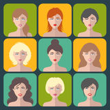 Big vector set of different women app icons in flat style. Female faces or heads collection. Royalty Free Stock Images