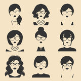 Big vector set of different women app icons in glasses in flat style. Female faces or heads images. Royalty Free Stock Photos