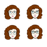Big vector set of different women in trendy models of eyeglasses royalty free illustration