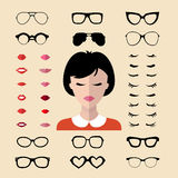 Big vector set of dress with different woman eyelashes, glasses, lips in trendy flat style. Female faces icon creator. Big vector set of dress with different royalty free illustration