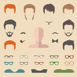 Big vector set of dress up constructor with different men glasses, beard, mustache, wear etc. Flat faces icon creator. Big vector set of dress up constructor vector illustration