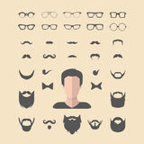 Big vector set of dress up constructor with different men glasses,beard,mustache,wear in flat style. Faces icon creator. Big vector set of dress up constructor stock illustration
