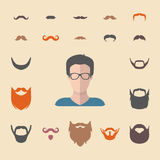 Big vector set of dress up constructor with different men hipster beard, mustache. Flat male faces icon creator. Big vector set of dress up constructor with Royalty Free Stock Photography