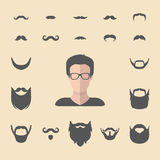 Big vector set of dress up constructor with different men hipster beard, mustache in flat style. Male faces icon creator. Big vector set of dress up constructor Royalty Free Stock Images
