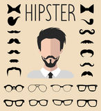Big vector set of dress up constructor with different men hipster glasses, mustache. Male faces icon creator. Big vector set of dress up constructor with Stock Image