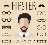 Big vector set of dress up constructor with different men hipster glasses, mustache. Male faces icon creator. Big vector set of dress up constructor with Royalty Free Stock Image
