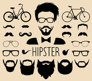 Big vector set of dress up constructor with different men hipster haircuts etc in flat style. Male faces icon creator. Big vector set of dress up constructor royalty free illustration