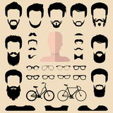 Big vector set of dress up constructor with different men hipster haircuts, glasses, beard etc. Male faces icon creator. Big vector set of dress up constructor Royalty Free Stock Photo