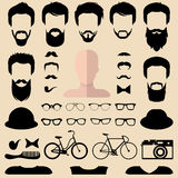 Big vector set of dress up constructor with different men hipster haircuts, glasses, beard etc. Male faces icon creator. Big vector set of dress up constructor stock illustration