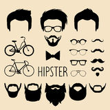 Big vector set of dress up constructor with different men hipster haircuts, glasses, beard etc. Male faces icon creator. Royalty Free Stock Images