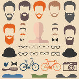 Big vector set of dress up constructor with different men hipster haircuts, glasses, beard etc. Stock Photo