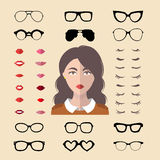 Big vector set of dress up constructor with different woman glasses, lips etc in flat style. Female faces icon creator. Big vector set of dress up constructor stock illustration
